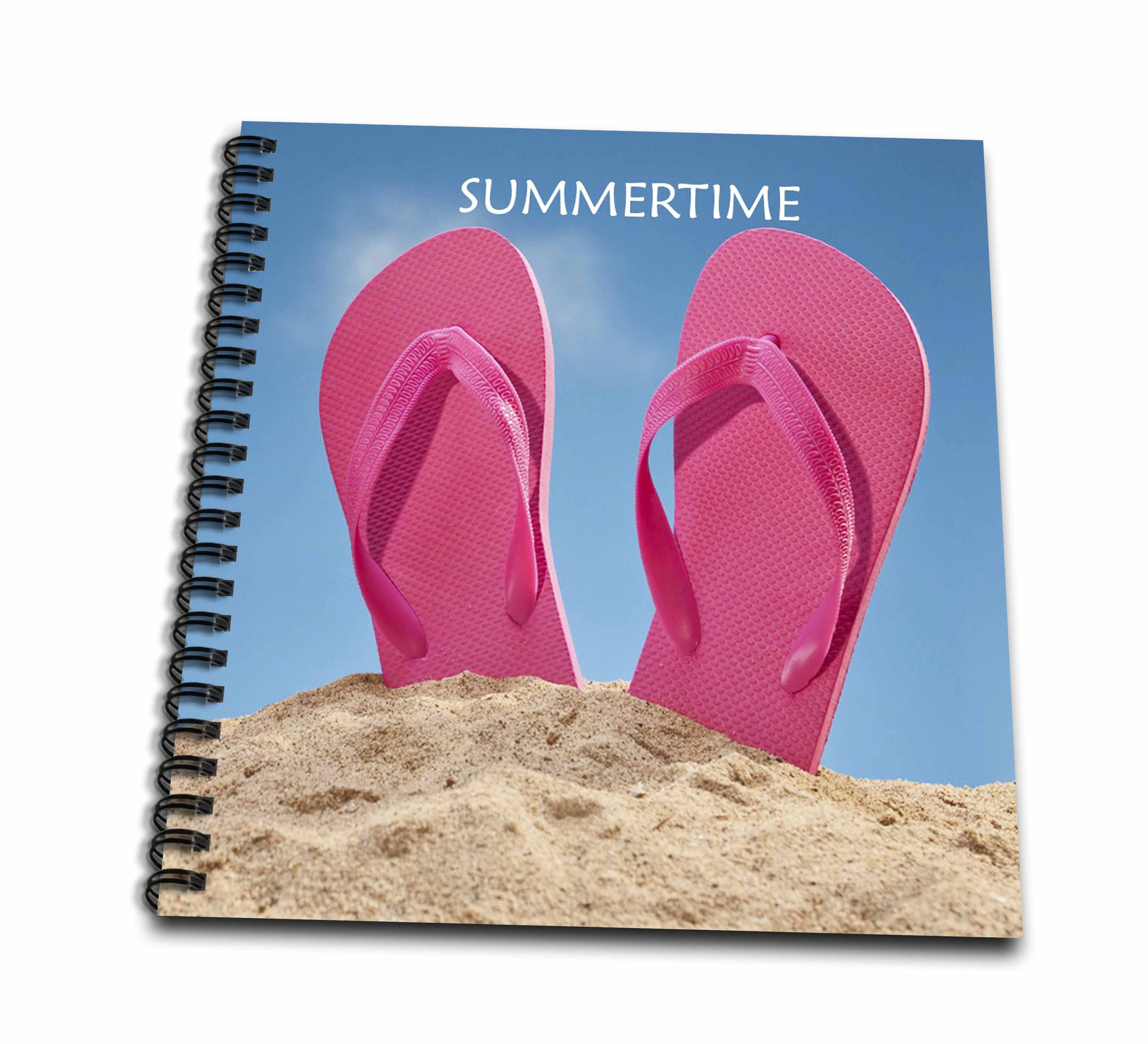 3dRose Pink Summer Flip Flops On Beach - Drawing Book, 8 by 8-inch ...