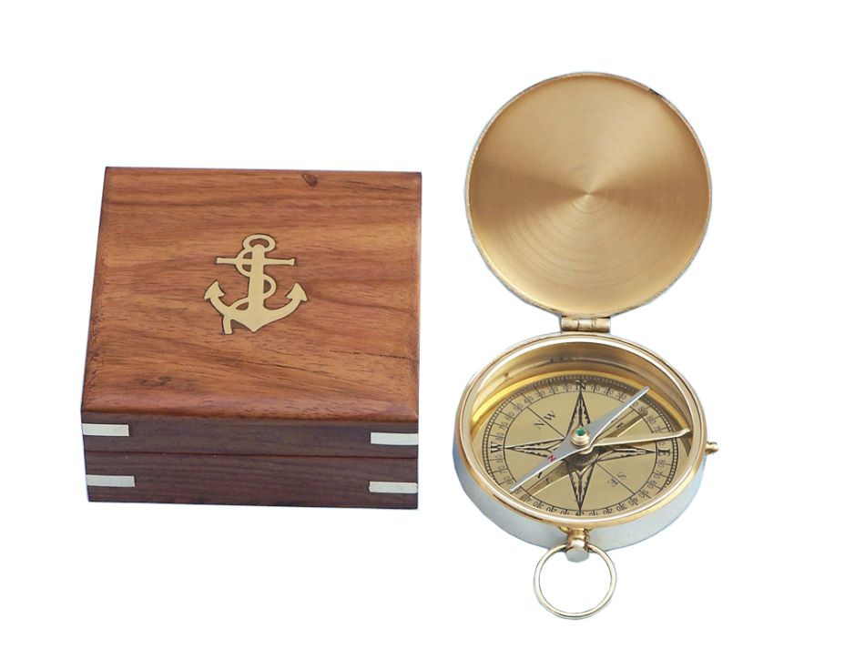 "Brass Gentlemen's Compass 4"" Brass Pocket Compass Nautical Compass Nautical Decor Nautical Gift Brass Compass Brand... by Handcrafted Nautical Decor"