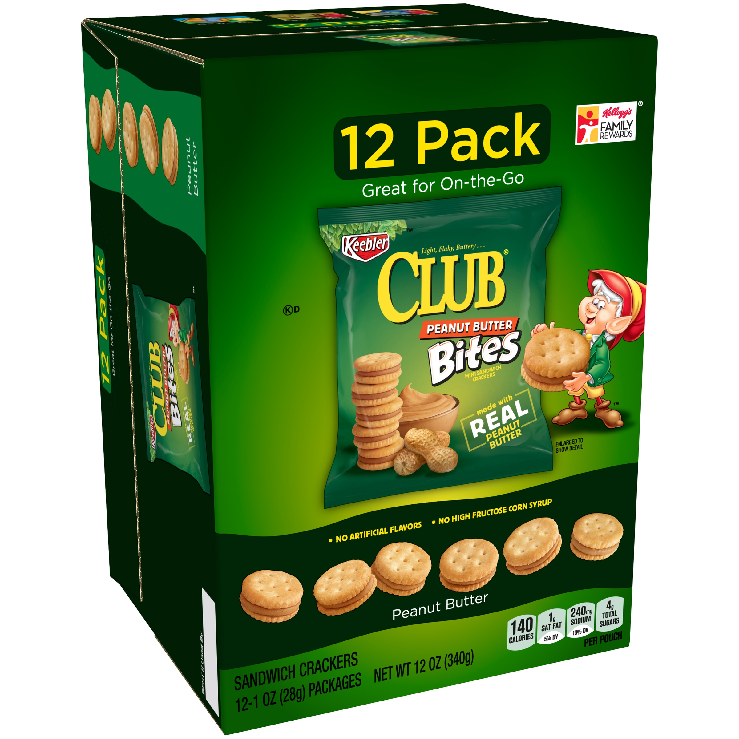 Keebler Club Peanut Butter Bites Sandwich Crackers 12-1 oz. Bags