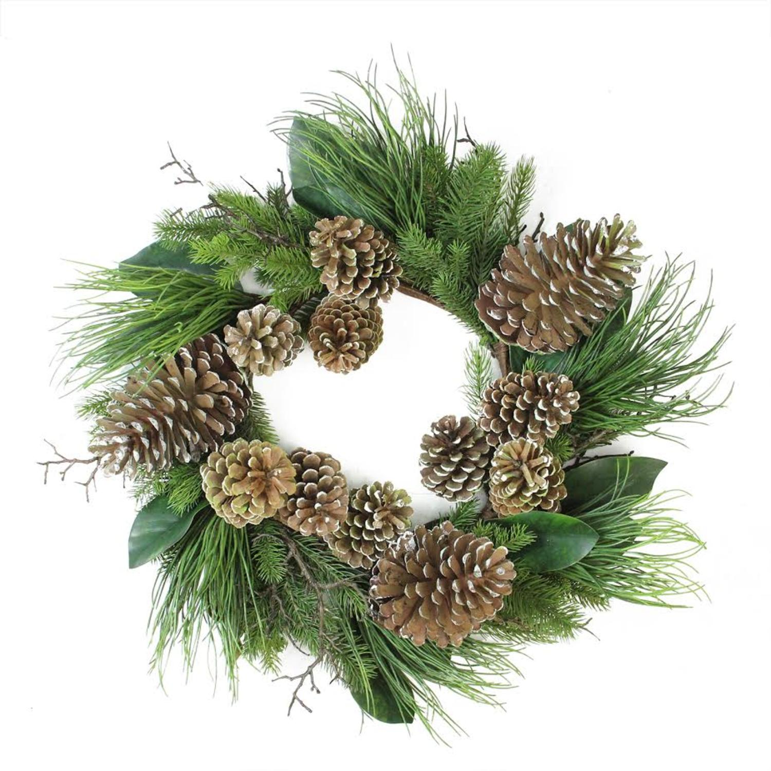 28 monalisa mixed pine with large pine cones and foliage christmas wreath unlit
