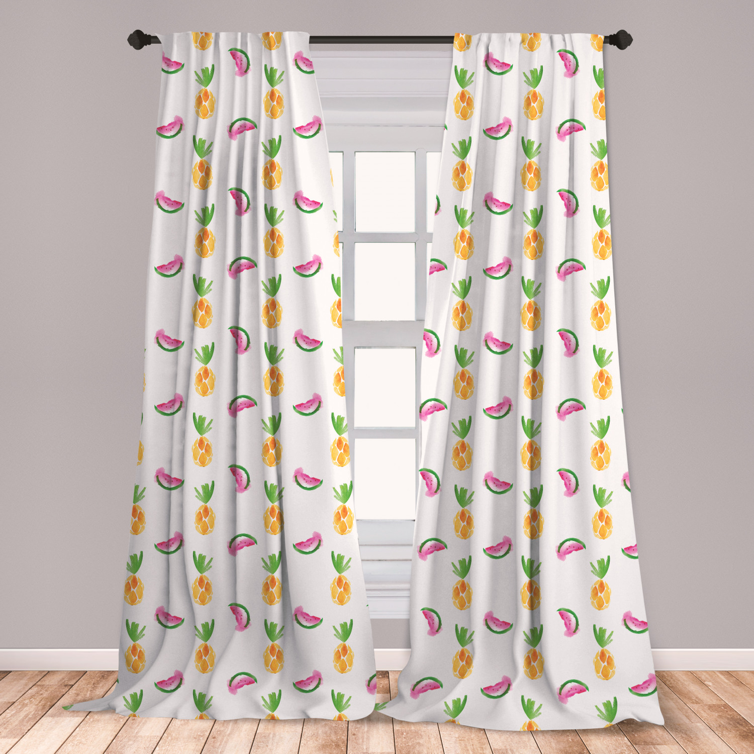 Pineapple Curtains 2 Panels Set, Pineapple And Watermelon