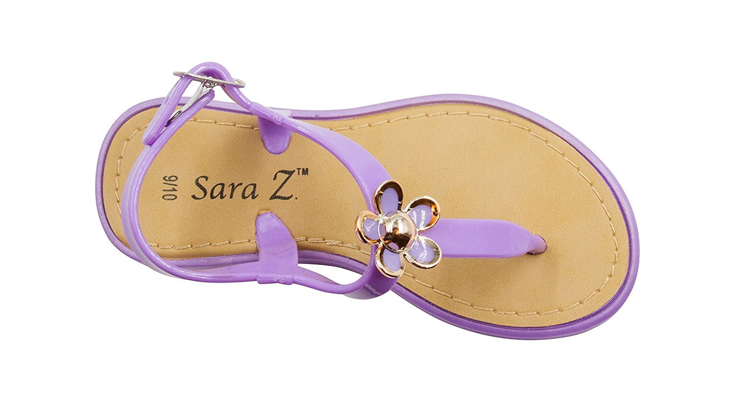 d8ef0e41acbe Sara Z - Sara Z Toddler Girls Jelly Thong Sandals with Gold and Enamel  Flower 11 12 White - Walmart.com