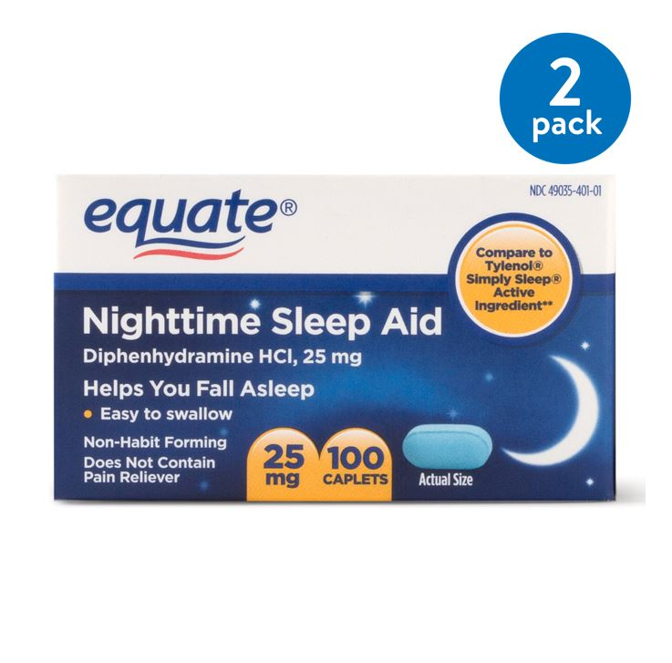 (2 Pack) Equate Nighttime Sleep Aid Diphenhydramine HCl Caplets, 25 mg, 100 Ct