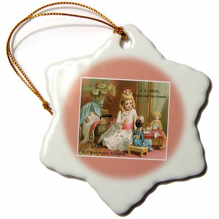Party Shop Bangor (3dRose Cloaks and Dry Goods Girl Playing with Dolls at a Tea Party Bangor, Snowflake Ornament, Porcelain,)
