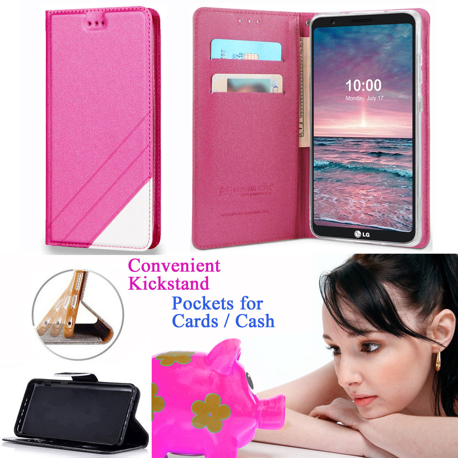 """for 6"""" LG V30 V30S THINQ V30S+ V30+ PLUS V35 THINQ Case Phone Case Wallet Kick stand Pouch Pocket Hybrid Purse Grip Texture Screen Flip Cover Pink"""
