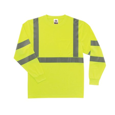Safety Tip - GloWear 8391 ANSI High Visibility Lime Reflective Long Sleeve Safety Shirt, 4XL, ANSI-compliant polyester breathable knit (4.1 oz.) By Ergodyne