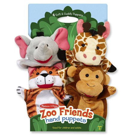 Melissa & Doug Zoo Friends Hand Puppets, Set of 4, Elephant, Giraffe, Tiger, and Monkey