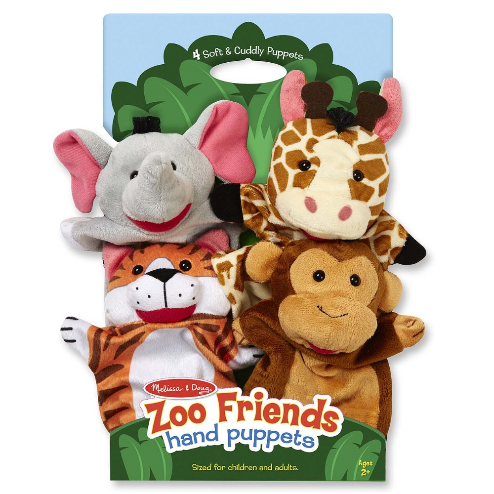 Melissa & Doug Zoo Friends Hand Puppets, Set of 4, Elephant, Giraffe, Tiger, and Monkey