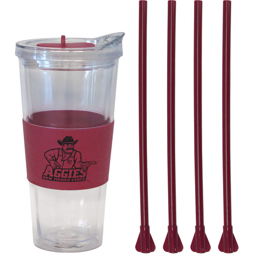 22oz NCAA New Mexico State Aggies Straw Tumbler with 4 Colored Replacement Propeller Straws