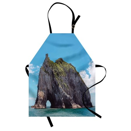Beach Apron Famous Elephant Shape Rock with the Grand Hole in Bay of Islands Nz Cavern Peaceful, Unisex Kitchen Bib Apron with Adjustable Neck for Cooking Baking Gardening, Blue Grey, - Halloween Baking Supplies Nz