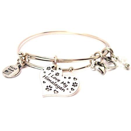 I Love My Himalayan Heart Expandable Bangle Bracelet Set Fits 7 5 Wrist Chubby