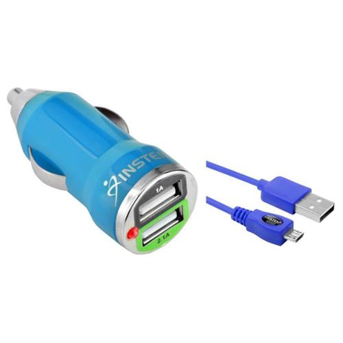 car cell phone charger by Insten 2.1 Amp High-Power USB Car Charger Dual Ports Adapter with 2 pcs 6' micro usb Cable for Smartphone Cell Phone Tab Tablet Android Device Universal - Blue