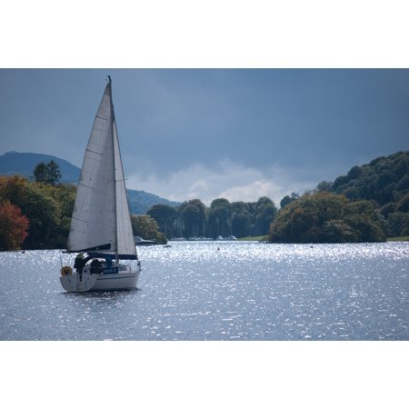 Canvas Print Boat Shimmer Water Sail Yacht Lake Stretched Canvas 10 x 14