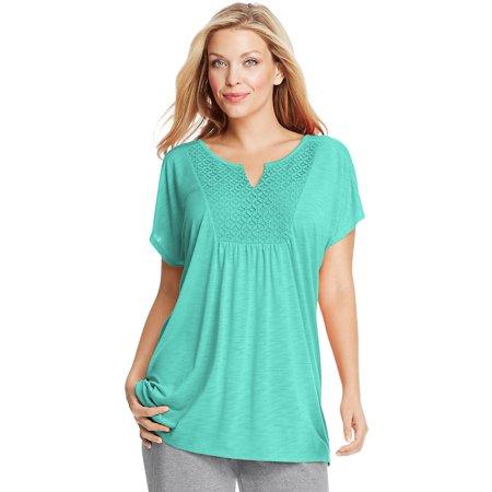 Just My Size Short-Sleeve Slub-Jersey Women's Tunic with Split V-Neck Crochet Bib Yoke - (Bib Yoke)