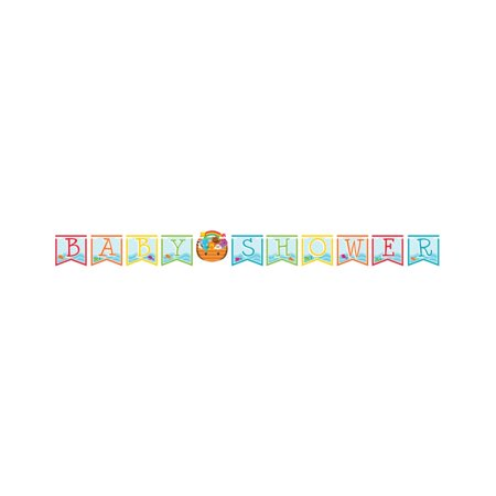 """Pack of 6 Multicolored Noah's Ark """"Baby Shower"""" Shower Ribbon Party Banners 9.2'"""