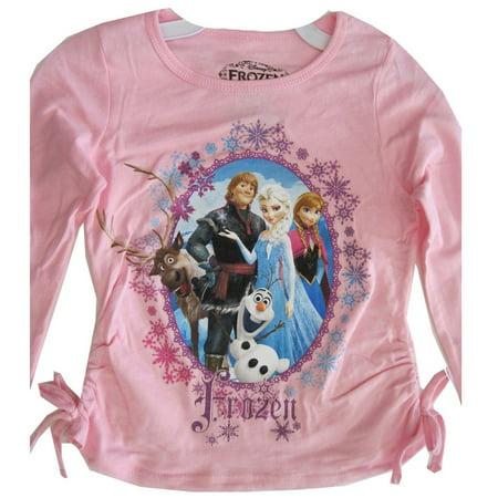 Disney Little Girls Pink Frozen Character Wintery Frame Long Sleeved Shirt 4-6X