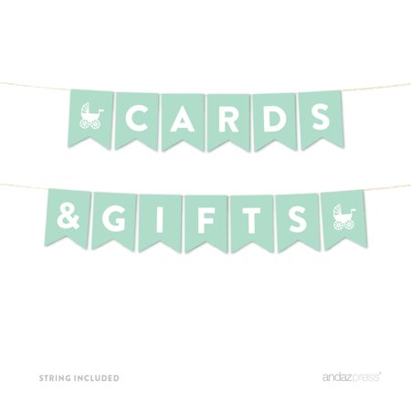 Cards & Gifts Mint Green Gender Neutral Baby Shower Pennant Garland Party Banner - Gender Neutral Baby Shower Decorations