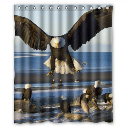 GreenDecor The Bald Eagles Bask In The Sun The Bald Eagle Waterproof Shower Curtain Set with Hooks Bathroom Accessories Size 60x72 inches
