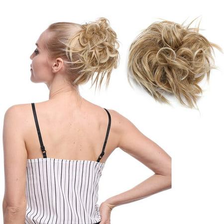 S-noilite Updo Messy Bun Hair Piece Scrunchies Synthetic Wavy Bun Extensions Band Elastic Scrunchie Chignon Ponytail Hairpiece for Women Dark