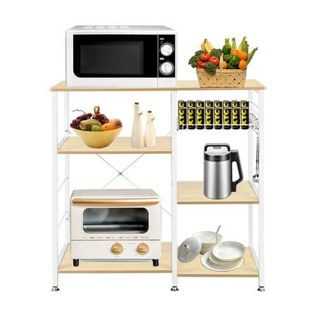 Bakers Rack Kitchen Shelves, 3-Tier Microwave Carts On Sale Shelving Unit, Metal Storage Shelves with 5 Hanging Hook, Round Corner, Adjustable Feet, Pull-out Basket, 3-Tier Shelves, Natural, Q4488 Kitchen Shelving Unit