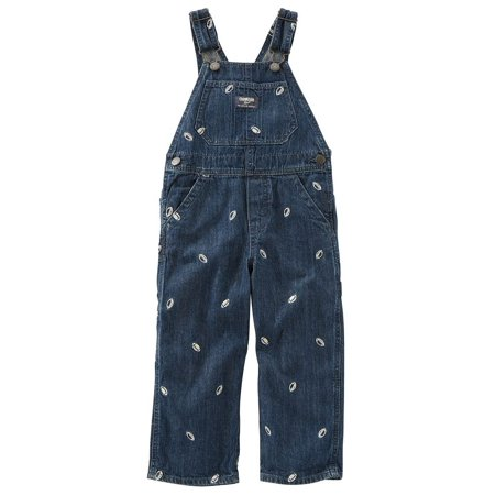 OshKosh B'Gosh Baby Boys Embroidered Football Denim Overalls - Chucky Overalls For Toddlers
