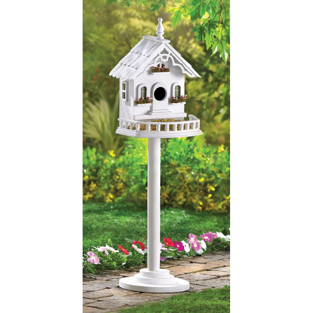 Birdhouse, Wooden Outdoor Finch Chickadee Freestanding Victorian Birdhouse by Bird Houses
