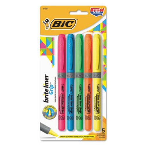 Bic Highlighter, Chisel Tip, Fluorescent Colors, 5 Highlighters (BICGBLP51ASST)