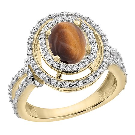 14K Yellow Gold Natural Tiger Eye Ring Oval 8x6 mm Double Halo Diamond, size 6.5