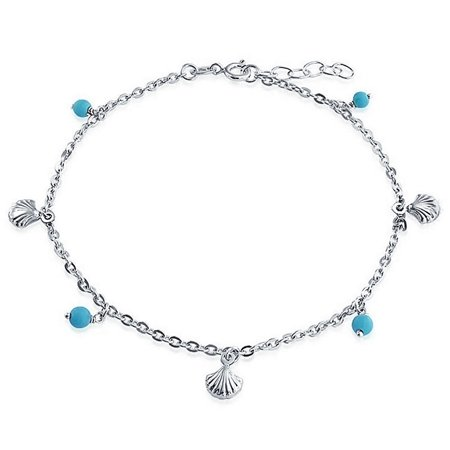 Nautical Multi Charm Seashell Aqua Blue Bed Dangle Anklet Ankle Bracelet For Women Sterling Silver 9-10 Inch Adjustable