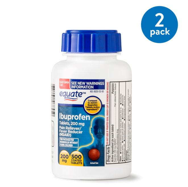 (2 Pack) Equate Pain Relief Ibuprofen Coated Tablets, 200 mg, 500 Ct