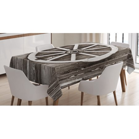 Barn Wood Wagon Wheel Tablecloth, Retro Wheel on Timber Wall Barn House Village Cart Circle, Rectangular Table Cover for Dining Room Kitchen, 60 X 84 Inches, Dark Brown and White, by Ambesonne ()
