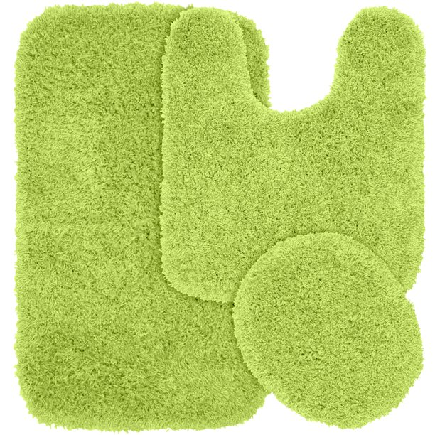 3 Piece Jazz Shaggy Nylon Washable Bathroom Rug Set Lime Green Walmart Com Walmart Com
