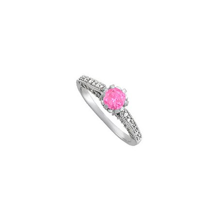 Fine Jewelry Vault UBUNR50458AGCZPS Pink Sapphire & CZ Engagement Ring Sterling Silver - 1.25 CT TGW , 12 Stones