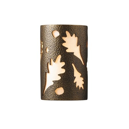 Group Ambiance Brass Outdoor Large Oak Leaves Wall Sconce - Gold