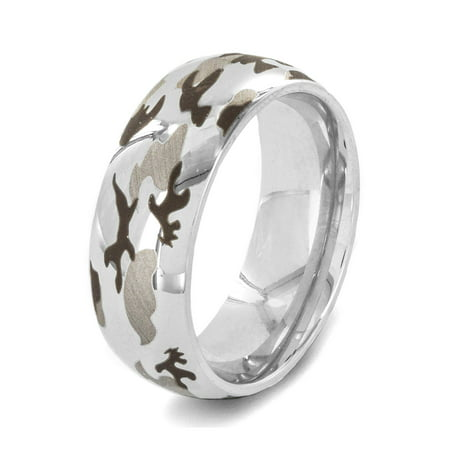 Stainless Steel Polished Laser Etched Camouflage Ring (8mm)