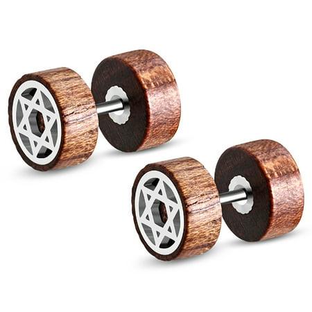 - Organic Tamarind Wood Star of David Round Circle Stainless Steel Faux Fake Cheater Ear Plugs Gauge, Pair