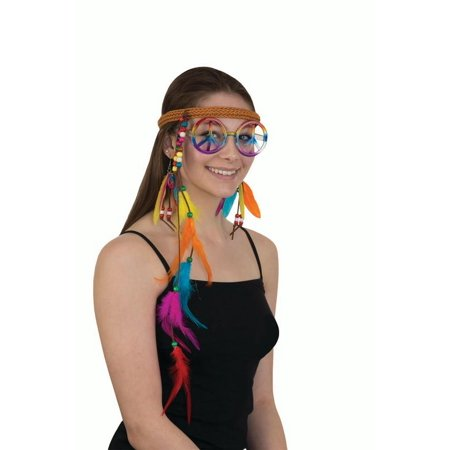 Womens Fun Hippie Costume Accessory Set Headband Peace Glasses Feather Earrings - Hippie Costumes