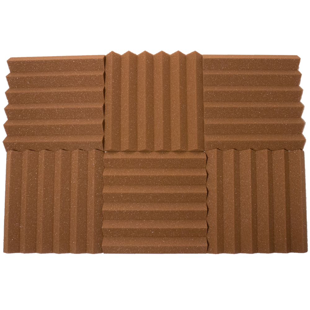 Seismic Audio 6 Pack of Brown 2 Inch Studio Acoustic Foam Sheets - Sound Dampening Tiles - SA-FMDM2-Brown-6Pack