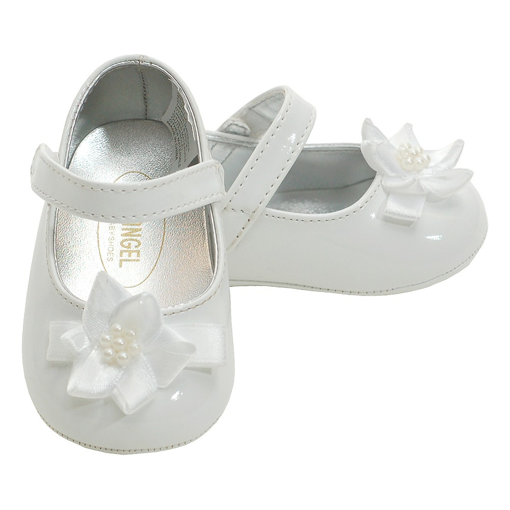 Angel White Patent Flower Accent Dress Shoes Baby 0