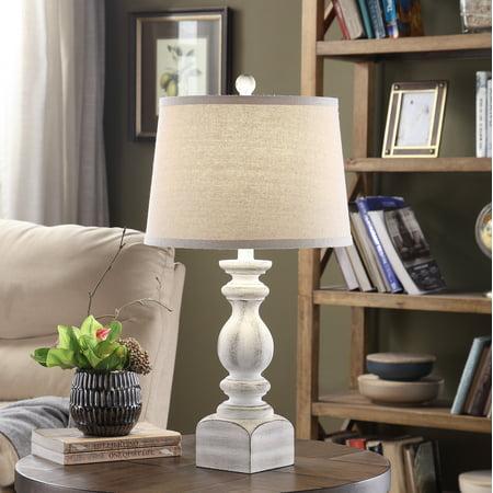 Sandhurst 25-inch Resin Tapered Drum Table Lamp, White Bamboo Resin Table Lamp