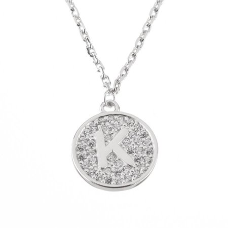 Pori Jewelers Sterling Silver Coin Initial Pendant Necklace made with Swarovski (Elements Mini Pendant)