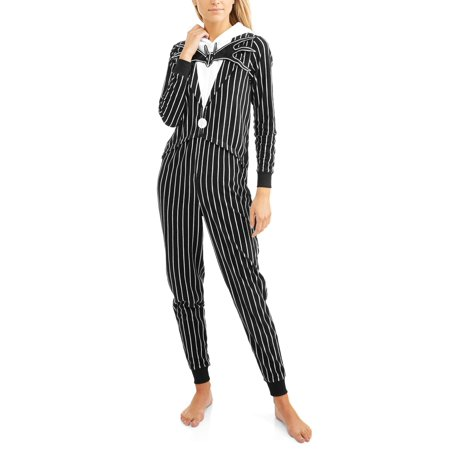 Jack nightmare before christmas women's and women's plus license sleepwear adult costume union suit pajama (X-Small)