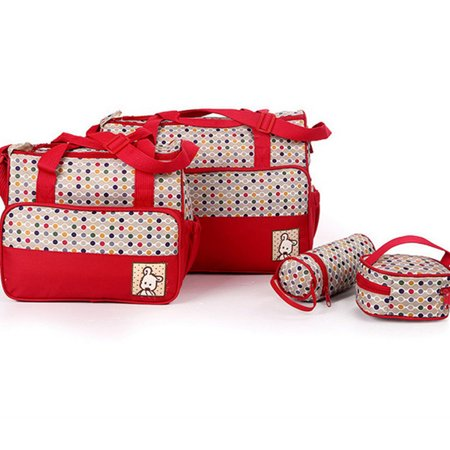Dot Diaper Set - Diaper Bag 5 pcs Nappy Tote Bag Set Water-proof Large Capacity Travel Handbag Shoulder Bag Include Changing pad Stylish Dotted Unisex for Baby Mom Dad Red