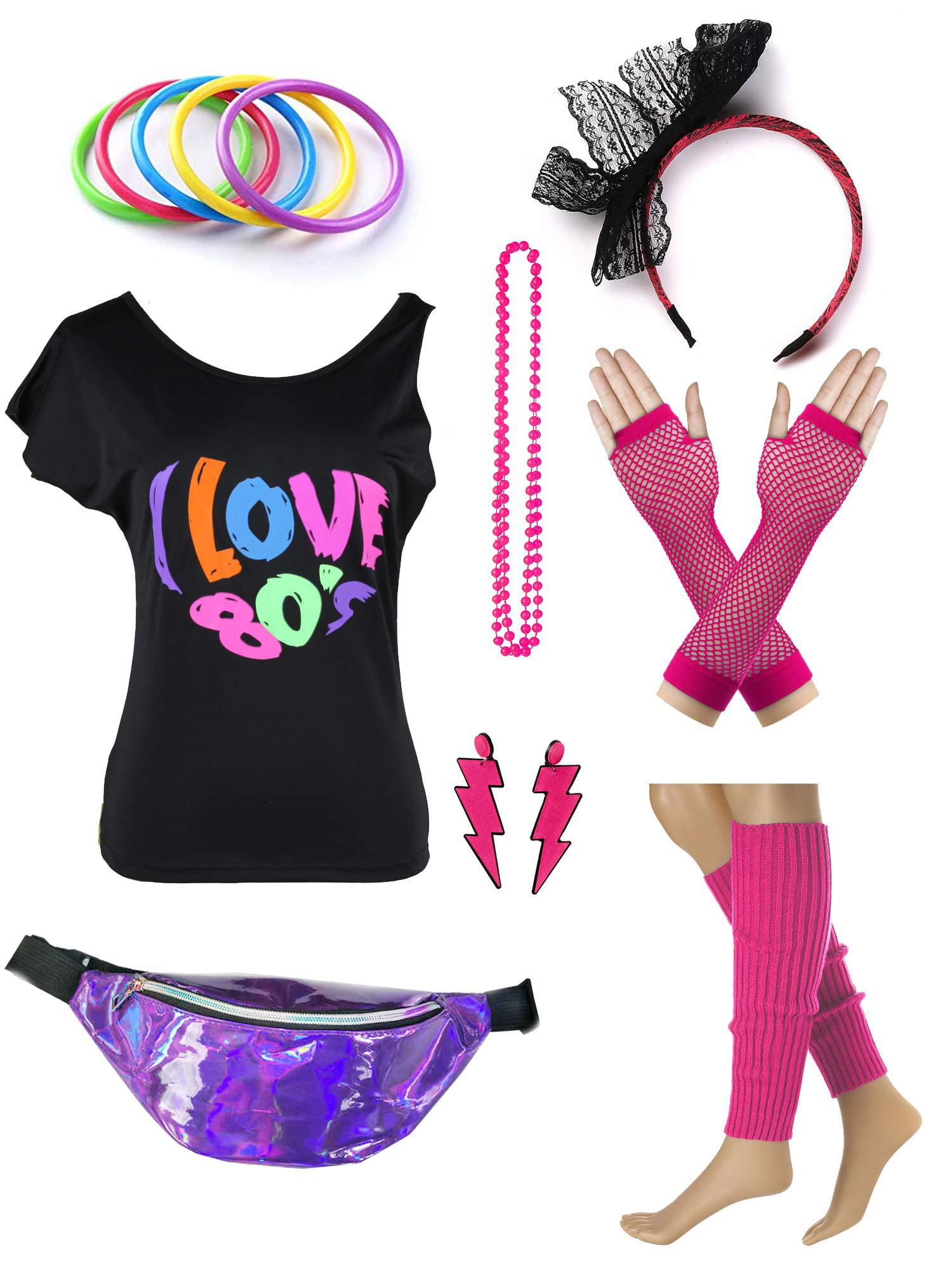Fancy Dress Neon Plastic Beads Hot Pink Necklace 70/'s /& 80/'s Pop Art Accessory