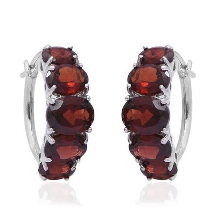 925 Sterling Silver Platinum Plated Oval Garnet Hoops Hoop Earrings for Women Jewelry Gift Ct 7.4