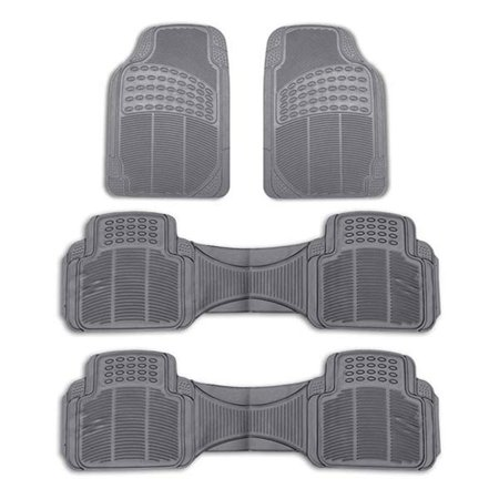 FH Group Heavy Duty Rubber Floor Mats for SUV, VAN, 3 Row Full Set,
