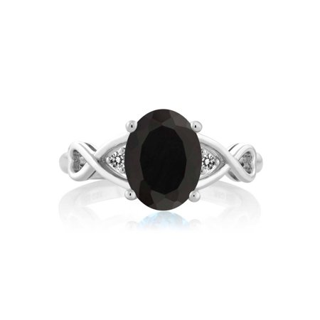 2.06 Ct Oval Black Onyx White Diamond 925 Sterling Silver Ring - image 3 de 4