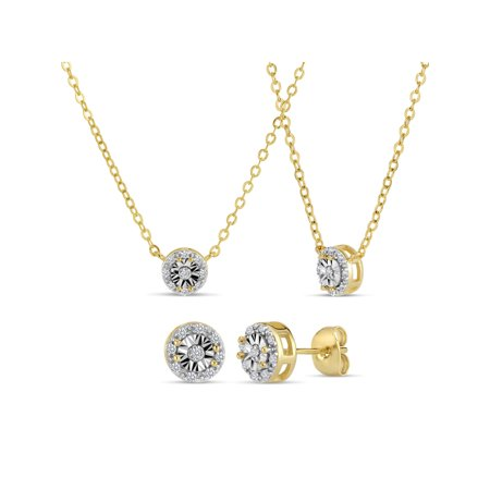 0.17 Total Carat Diamond Accent 18kt Gold Over Sterling Silver Illusion Halo Stud Earrings and Necklace 18