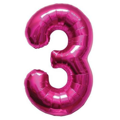 "Northstar Number 3 Three Shape Solid Jumbo Helium 34"" Foil Balloon, Magenta"
