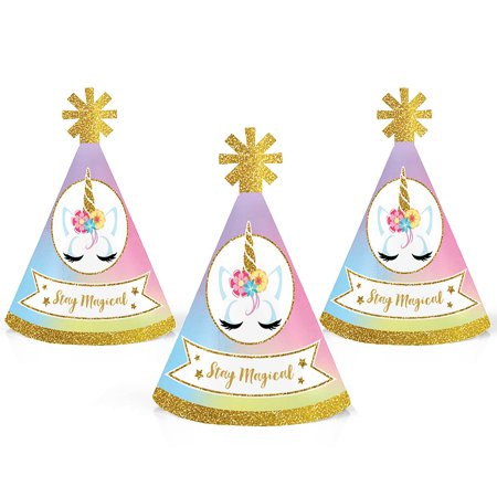 Rainbow Unicorn - Mini Cone Magical Unicorn Baby Shower or Birthday Party Hats - Small Little Party Hats - Set of 10 - Mini Birthday Party Hats